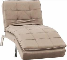 Fotel ágyfunkcióval, szürkésbarna TAUPE/króm, REMAN