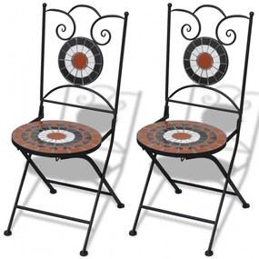 vidaXL 2 db terrakotta és fehér színű összecsukható kerámia kerti szék