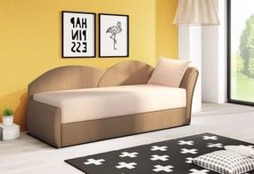 RICCARDO kinyitható kanapé, 200x80x75 cm, bézs + sötétbarna, (alova 07/alova 67), jobbos
