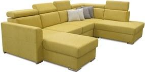 Luxus kivitelű ülőgarnitúra, sárga/barna párnák, jobbos, MARIETA U