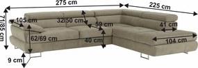 Ülőgarnitúra, J változat, szövet világosbarna melír, BUTON P