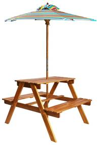 vidaXL tömör akácfa gyermek piknikasztal napernyővel 79x90x60 cm