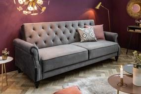 LEONARD-II design bársony kanapé - szürke - 220cm