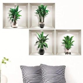 Exotic Palm Leaves 4 db-os 3D falmatrica szett - Ambiance