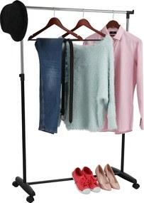Görgős ruhaálvány, króm/fekete műanyag, SOREN