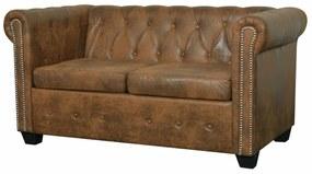 vidaXL 2 személyes barna műbőr Chesterfield kanapé