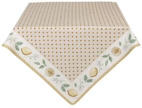 Citrom mintás, bézs színű pamut asztalterítő, Lemons & Leafs - Clayre-Eef / 100x100cm