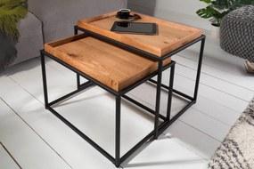 ELEMENTS barna tölgyfa furnér dohányzóasztal 60x40x45
