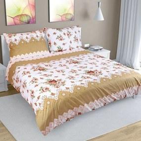 Rózsa pamut ágynemű, barna, 240 x 220 cm, 2 db 70 x 90 cm, 240 x 220 cm, 2 db 70 x 90 cm