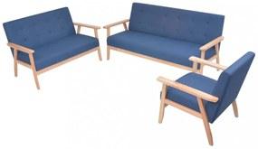 3 részes kék huzatú ülőgarnitúra
