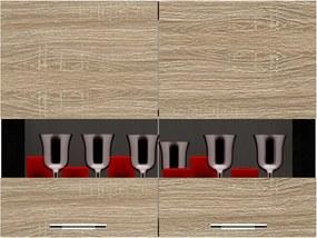 Salandra Elemes konyha 2 ajtós üveges felsőszekrény sonoma 80 x 60 x 30 cm