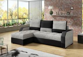 ZSANETT sarok ülőgarnitúra, 245x90x150 cm, berlin 01/soft 011 black, balos
