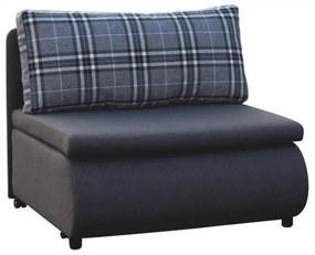 Kinyitható fotel, szürke/minta kocka, KENY NEW