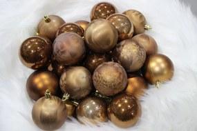 Barna műanyag karácsonyfa gömb 6cm 30db