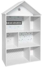 Házikó alakú könyvespolc, fehér-szürke - MABIBLI