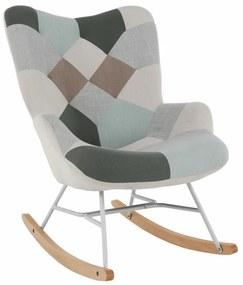 Hintaszék, zöld-fehér patchwork/fehér/bükkfa, GERON