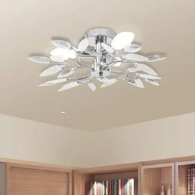 Mennyezeti lámpa fehér és átlátszó akril kristály levél karokkal E34 izzók
