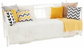 Fém kanapé pótággyal, fehér, ZAROLA