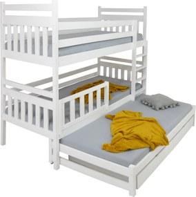 FA PETRA 5 emeletes ágy 90x200 pótággyal és ágyneműtartóval Szín: Fehér