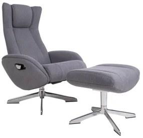 House Nordic - Riga Lounge fotel lábtartóval, szürke szövet
