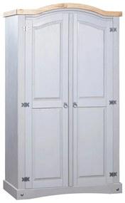 vidaXL szürke 2 ajtós Corona-stílusú mexikói fenyőfa ruhásszekrény