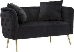 BUCAREST fekete és arany bársony kanapé