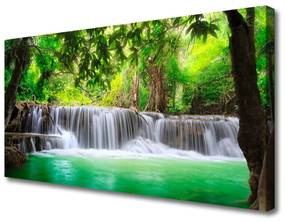Vászonkép nyomtatás Vízesés Lake Forest Nature 125x50 cm