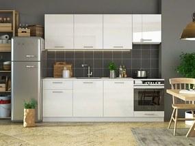 Magasfényű elemes konyhaszekrény, 240 cm, fehér - BON APETIT