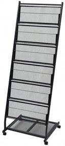 Fekete, A4-es újságtartó állvány 47,5x43x133 cm