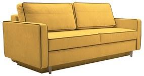 Kinyitható heverő, sárga/fekete, BERNIA