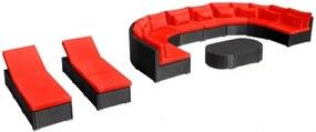 13-részes piros polyrattan kerti bútorszett párnákkal