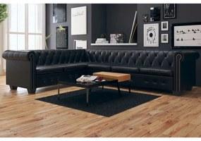 6 személyes fekete műbőr chesterfield sarok kanapé