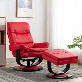 Piros műbőr és hajlított fa dönthető fotel