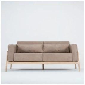 Fawn világosbarna kanapé bivalybőrből, tömör tölgyfa szerkezettel, 180 cm - Gazzda