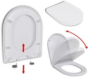 vidaXL fehér szögletes gyorskioldó WC-ülőke lassan csukódó fedéllel
