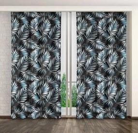 Dekoratív függöny egzotikus motívummal és ráncolószalaggal Hossz: 250 cm