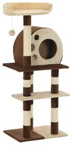 vidaXL bézs/barna macskabútor szizál kaparófákkal 127 cm