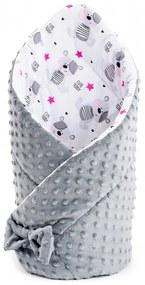 NEW BABY | New Baby Minky | Kétoldalas pólya Minka New Baby 75x75 cm teddy szürke rózsaszín csillagokkal | Szürke |