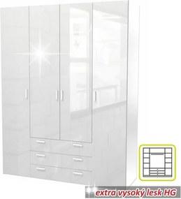 GWEN Gardrób 4 ajtós Fehér HG