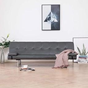 Szürke műbőr kanapéágy két párnával