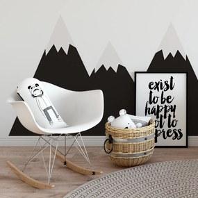 Skandináv fekete hegyek – L méretű falmatrica