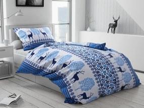 Karácsonyi rénszarvas kék flanel ágynemű
