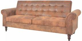Ággyá alakítható barna műbőr kanapéágy kartámaszokkal