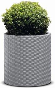 Keter Cylinder L virágcserép Silver Grey