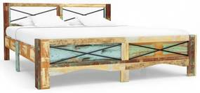 Tömör újrahasznosított fa ágykeret 140 x 200 cm