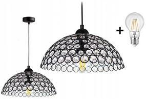 Crystal Ball állítható függőlámpa fekete 1x E27 + ajándék LED izzó