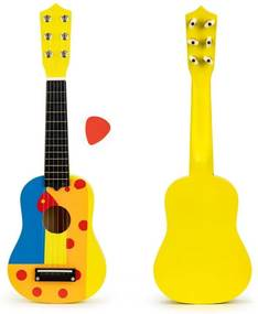 EcoToys Gyerek gitár, fém húrok, fa sárga, FO18 SÁRGA