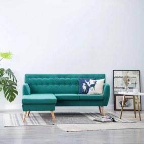 L-alakú zöld szövetkanapé 171,5 x 138 x 81,5 cm