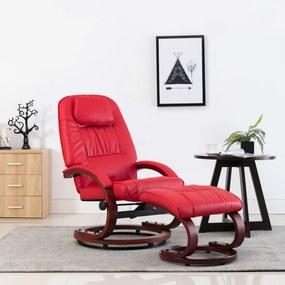Piros dönthető műbőr fotel lábzsámollyal