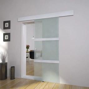 vidaXL ezüstszínű üveg és alumínium tolóajtó 178 cm